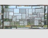 Beveled clear glass transom stained glass window panel geometric abstract stained glass panel window panel large 0159  22 1/4 x 11 1/4