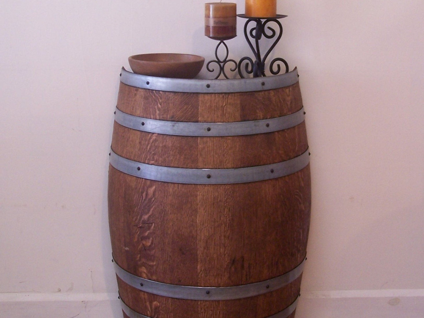 Half french wine barrel foyer table accent table wine room for 1 2 wine barrel table