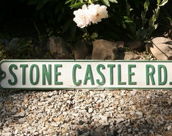 Vintage street sign, STONE CASTLE RD, metal road sign, Hudson Valley