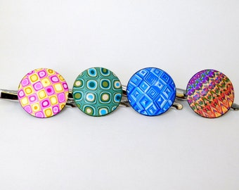 Hair Clips, polymer clay barrettes, alligator clips, set of 4