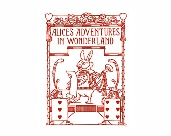 Alice in Wonderland White Rabbit Vintage Art Print Red and White Lewis Carroll Nursery