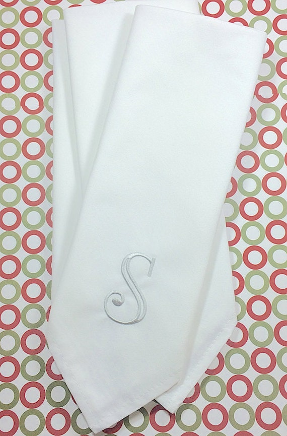 select monogrammed s cloth napkins    set of 4