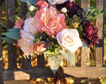 Coral Peony Bride Bouquet, Marsala Dahlia, Blush Roses Faux Flowers, Silk Flowers, Wedding Flower, Destination Wedding, Bridal Bouquet.
