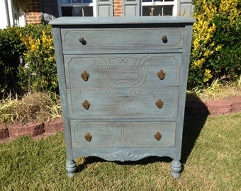SOLD ** Chic and Shabby Blue Grey Dresser / Chest of Drawers