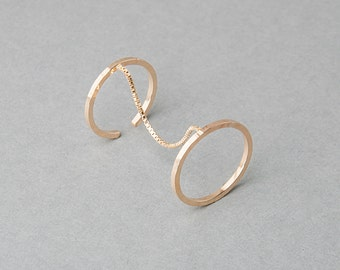 Silver or Gold-Fill Sundial Double Ring | Sequence Collection by Haley Lebeuf