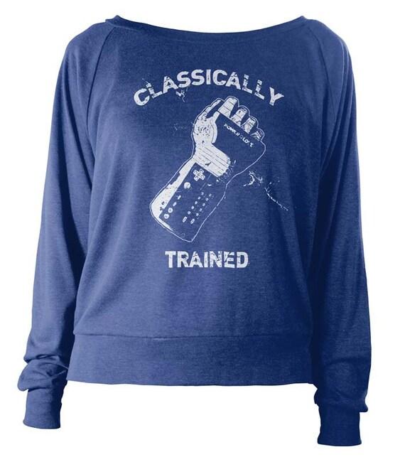 Womens Lightweight Pullover - Classically Trained Long Sleeve Sweater - Gamer Sweatshirt - American Apparel Raglan