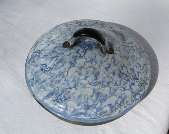 "Vintage Coffee Pot LID ONLY Mottled Speckled Blue & White Enamelware - 5-1/8"" to 5-1/4"" for Coffee Pot Repurpose for Project"