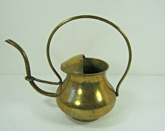 Vintage BRASS WATERING CAN Tarnished Small Size Planter Vase Indoor Plants Garden