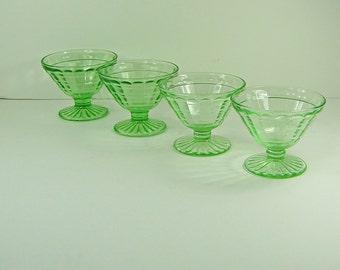 Vintage GREEN DEPRESSION Glass SHERBET Set/4 Vaseline Block Optic Hocking Glass Uranium Glows!