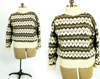 Vintage 1970s Cream Ivory Taupe Brown Cowichan Style Nordic Wool Turtleneck Sweater Size L Large XL Extra Large