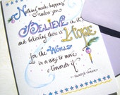 Believe Christmas Card - Christmas Inspirational Card - Christmas Quote - Hand Lettered Holiday Card
