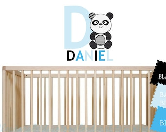Panda Wall Nursery Decal  - Fabric Reusable Decals - Monochromatic Themed room - Boys Panda Stickers - Girls Panda Art - Name Wall Decal