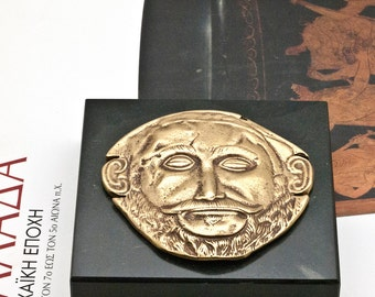 Ancient Greece Paperweight, Black Marble and Gold Mask of Agamemnon Paperweight, Ancient Mycenae King Museum Replica, Office Desk Decor