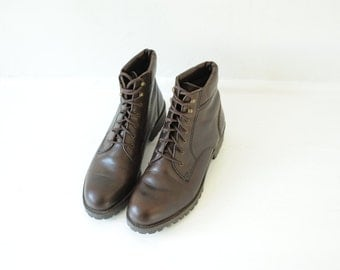 Vintage Enzo Angiolini Brown Leather Ankle Boots Womens 7 1/2 M