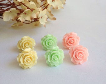 Large rose flower earrings (3 pairs). Springtime jewelry, pastel jewelry, simple earrings, bridal, bridesmaid gift, shabby chic, flower girl