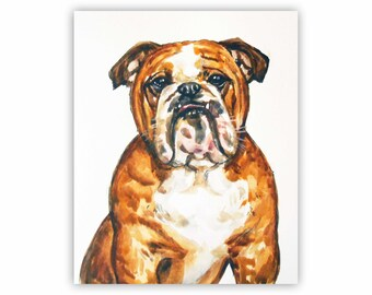 "8x10"" Custom Pet Portrait, Watercolor and Ink, 1 Pet Drawing Illustration Art Watercolour English Bulldog Memorial Art Painting"