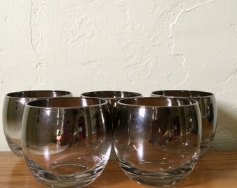Vintage Roly Poly Glasses Set of 5 Silver Ombre Large Mad Men Silver Fade Mid Century Barware Dorothy Thorpe Style