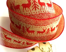 Thick Festive Forest Deer Burlap Ribbon-1 yd-Red w/ Wire Edge-Winter-Holiday-Christmas Wreath-Antlers-Mini Deer-Evergreen Trees-Ugly Sweater