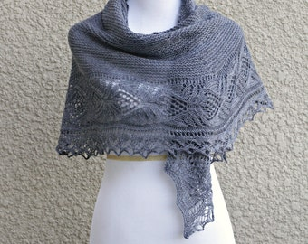 Knit shawl in grey color lace shawl, knitted wrap gift for her wedding shawl