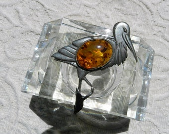 Vintage Unmarked Amber Heron Bird  Pin Brooch