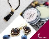 Valentine's Day Forever Package, Natural Lip Balm, Tassel Bracelet, Dangle Earrings, Romantic Gift Set, Valentine Care Package, Wife Gift