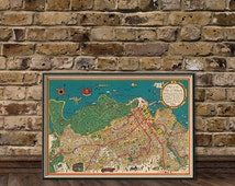Vintage map of Hobart - Old city map restored - Fine reproduction