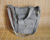 Vintage Grey Fishbone Cotton Canvas Zip Up Top Tote Hobo Bag Purse
