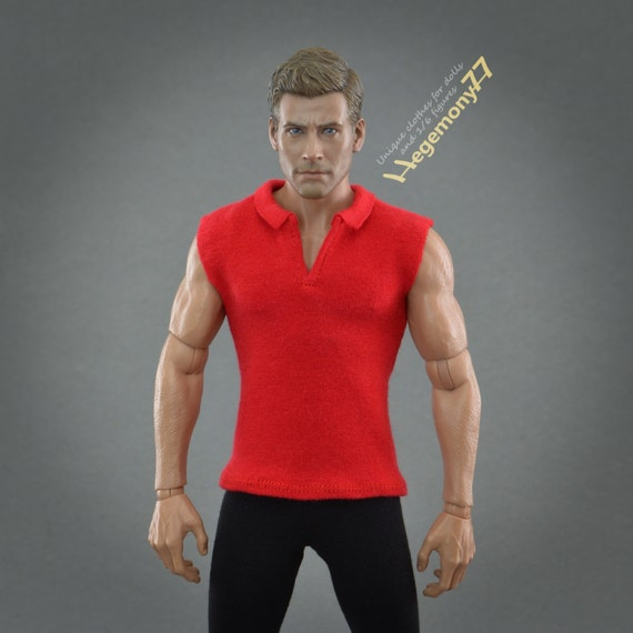 1/6th scale red sleeveless polo shirt inspired by Zagor - for regular size collectible movable action figures and male fashion dolls