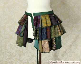 Custom Made Patchwork Ruffle Bustle Overskirt - 3 Layer, Sz. L - Your Choice of Colors