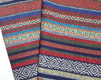 Thai Woven Cotton Fabric Tribal Fabric Native Fabric by the yard Ethnic fabric Aztec fabric Craft Supplies Woven Textile 1/2 yard (WF82)