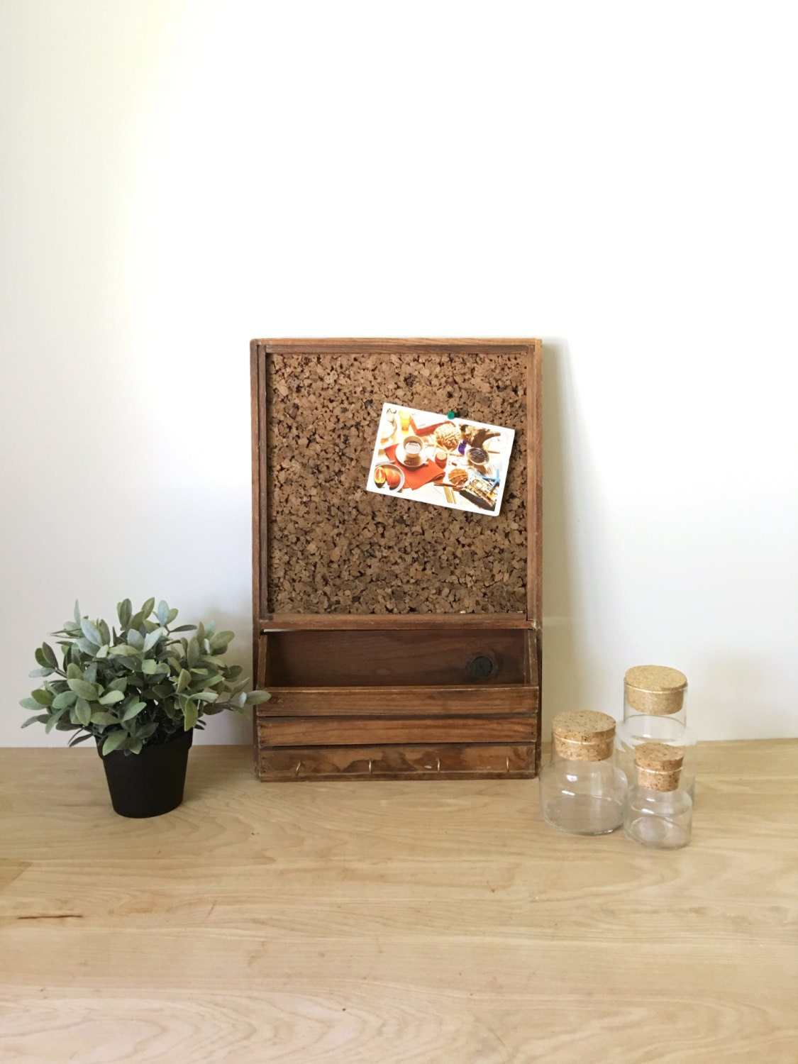 rustic vintage wooden message cork board wall hanging with