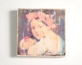 Flower Girl Art Block, Art Blocks, Boho Art, Wood Printing, Wood Block Art, Small Art, Wood Print, Poppies, Vintage Art Print