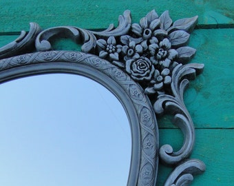 Large Ornate Oval Vintage Mirror Wall Mirror Ornate Frame, Hollywood Regency Paris Apartment, French Country Greige Grey Gray Modern Vintage