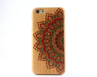Natural Cherry Wood iPhone 6 plus case Painted Mandala Flower iPhone 6P case - NW6P001