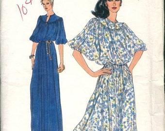 Boho Uncut Vintage 1970s Vogue 7128 Very Easy Yoked Gathered Blouson Dolman Sleeve Maxi or Regular Dress Sewing Pattern B34