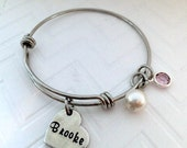 Child's adjustable bangle Bracelet, Little Girls, Boutique Kid's Jewelry,  Personalized adjustable Bangle for Little Girls, The Charmed Wife