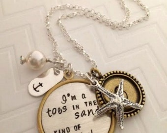I'm a 'toes in the sand' kind of girl - Beach themed Jewelry - Nautical Jewelry - Star Fish necklace - Anchor Jewelry - The Charmed Wife