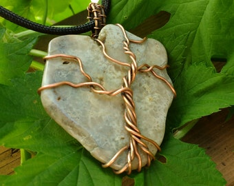 Tree of Life Copper and Greige Agate Pendant