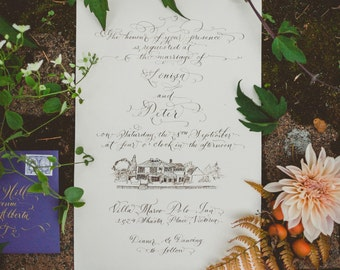 A hand lettered calligraphy invitation & RSVP with venue illustration | M a r c o P o l o