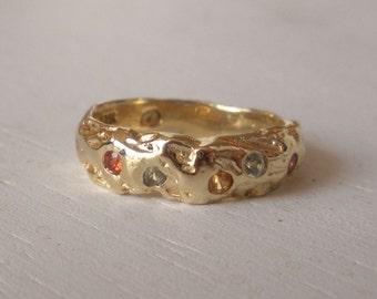 14k Gold Multi Color Sapphire Wedding Band - Nugget Ring - Organic Design