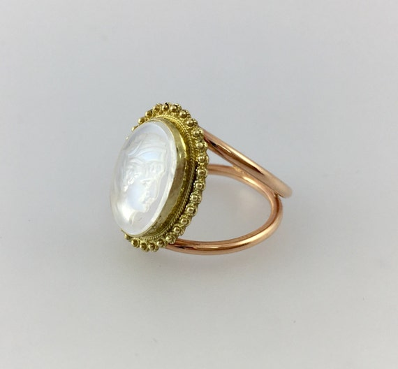 Victorian Carved Moonstone Ring Intaglio Ring Cameo Ring 14k Yellow Gold Rose Gold Engagement Ring