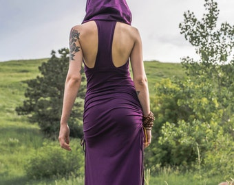 Racerback Cowl Hood Maxi ~ Elven Forest, festival dress, gypsy clothing, elven dress, goa, sexy