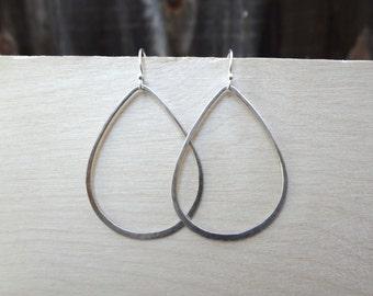 Sterling silver teardrop minimal earrings. Hand hammered and soldered 18 gauge sterling silver teardrop earrings for women and teens.