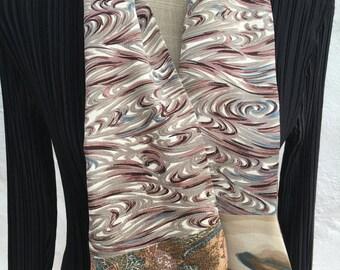 Cravat style vintage kimono silk scarf.  FREE SHIPPING