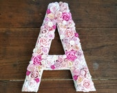 Flower Letter Floral Letter Pink Flowers Personalised Wall Letter Initial Monogram Nursery Decor Wedding Girl's Bedroom 10 inch Any Letter