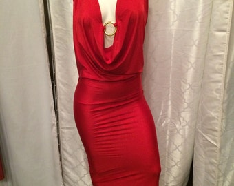 red plunge neck halter dress with ring