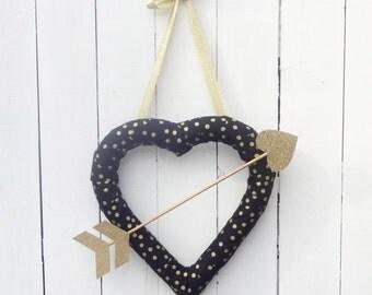 Heart wreath, Valentines Day Wreath, arrow wreath, heart shaped wreath, gold heart wreath, gold polka dot wreath, valentines door decor