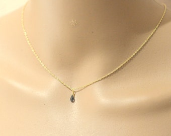 0.5 Cts Blue Sapphire Necklace in 14K Yellow Gold , Delicate 14K Gold Necklace, September Birthstone Jewelry, Gift For Her