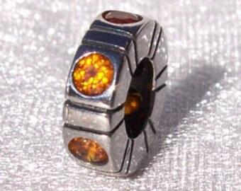 "Pandora ""Orange Trinity"" Spacer Retired High Fashion Spacer Cz Genuine Designer Bracelet Glam Charm FREE SHIPPING"