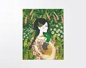 Girl & wild duck - 8x10 art print